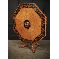 Rare Birds Eye Maple Octagonal Marquetry Inlaid Centre Dining Table