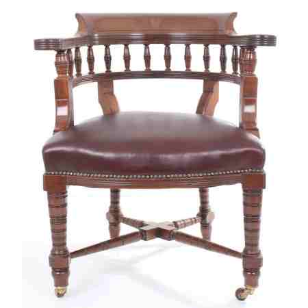 Antique Mahogany Leather Desk Chair
