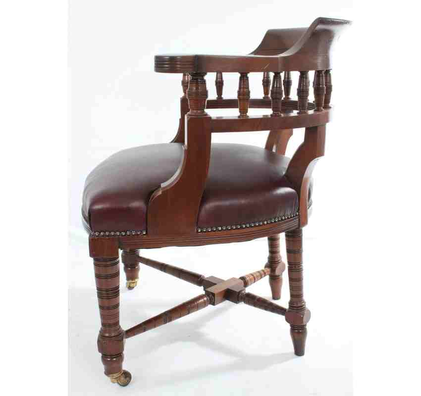 Antique mahogany leather desk chair lt antiques for Antique leather chairs