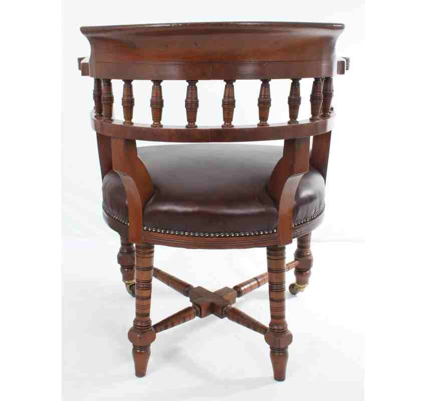 Antique mahogany leather desk chair lt antiques for Antique office chair