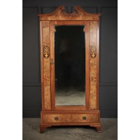 Slim Marquetry Inlaid Walnut Wardrobe