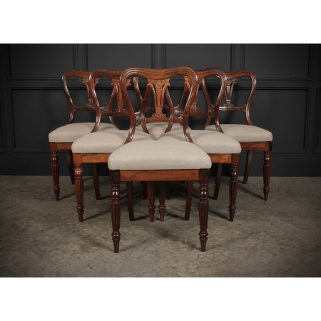 Set of 6 Rosewood Kidney Back Dining Chairs