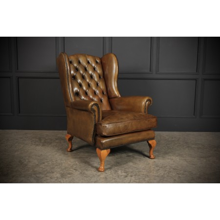 Hand Dyed Quality Leather Wing Chair