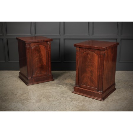 Pair of William IV Flame Mahogany Pedestal Cabinets