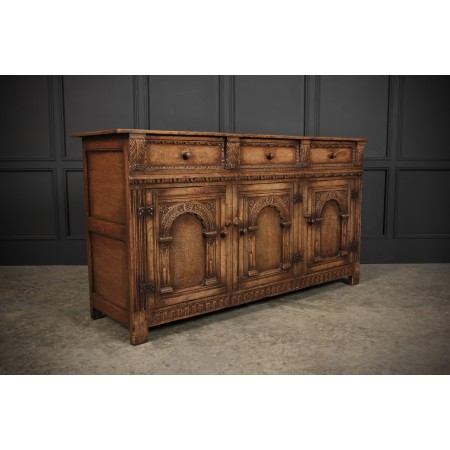 Carved Ipswich Oak Sideboard