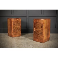 Pair of Art Deco Walnut Bedsides
