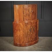 Art Deco Demi-Lune Walnut Cocktail Cabinet