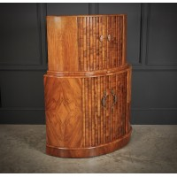 Art Deco Demi-Lune Walnut Cocktail Cabinet