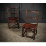Pair of Oak & Leather Chairs