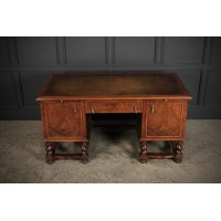 Large Queen Anne Style Burr Walnut Desk