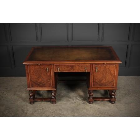 Large Queen Anne Style Burr Walnut Desk