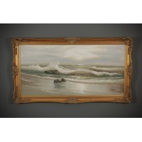 Large Seascape Painting In Gilt Frame by Artist Schubert