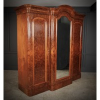 Large Burr Walnut Triple Wardrobe
