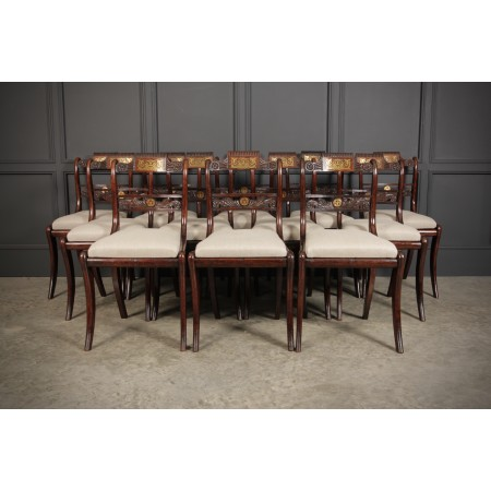 Set of 12 Regency Brass Inlaid Dining Chairs