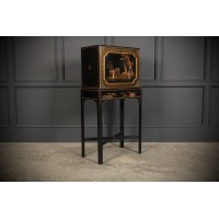 Black Japanned Chinoiserie Cabinet on Stand