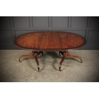 Large Regency Mahogany Twin Pillar Dining Table