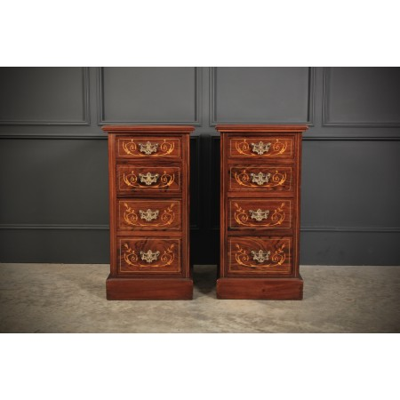 Pair of Rosewood & Mahogany Marquetry Inlaid Bedside Chests