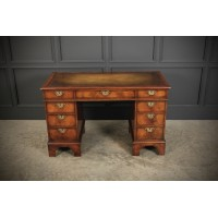 Queen Anne Style Walnut Pedestal Desk