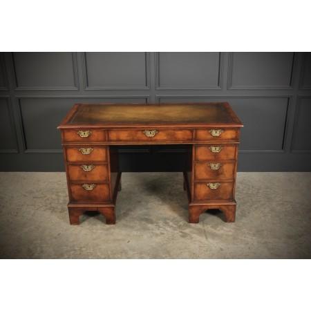 Queen Anne Style Walnut Pedestal Desk