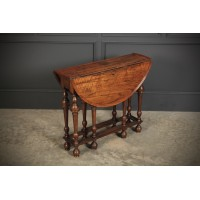 Rare Figured Walnut Gate Leg Pembroke Table