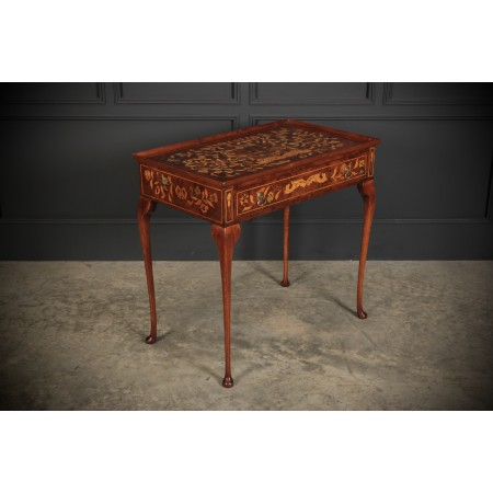 Dutch Marquetry Inlaid Walnut Side Table