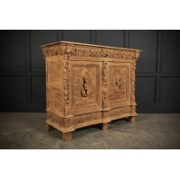 French Carved Bleached Oak Side Cabinet