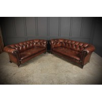 Near Pair of Victorian Hand Dyed Leather Chesterfield Sofas