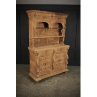 Large Bleached Carved Oak Cabinet