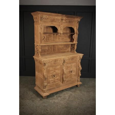 Large Bleached Carved Oak Cabinet