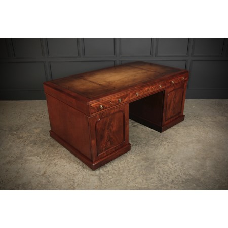 Large Flame Mahogany Partners Desk