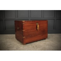 Large Military Style Mahogany Trunk