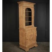 Slim Bleached Oak Glazed Bookcase