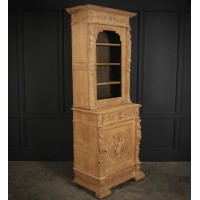 Slim Bleached Oak Glazed Bookcase