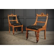 Pair of Victorian Gothic Oak & Leather Desk Chairs