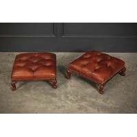 Pair of Victorian Buttoned Leather Footstools