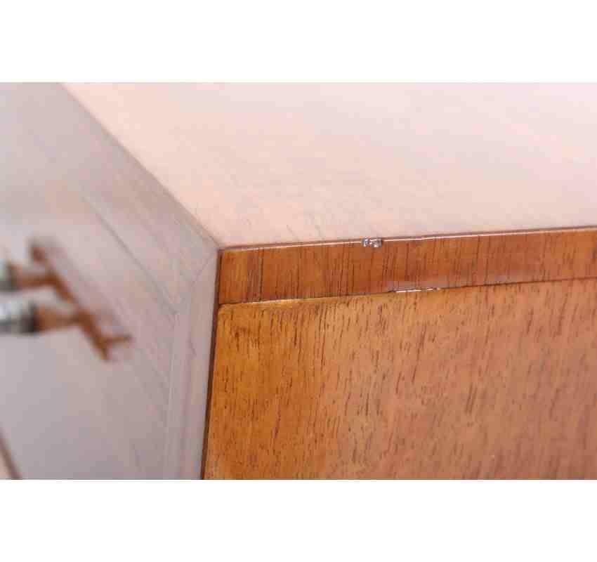 Walnut art deco bedside cabinet