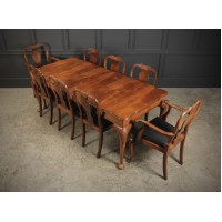 1920's Queen Anne Style Walnut Extending Dining Table & 8 Chairs