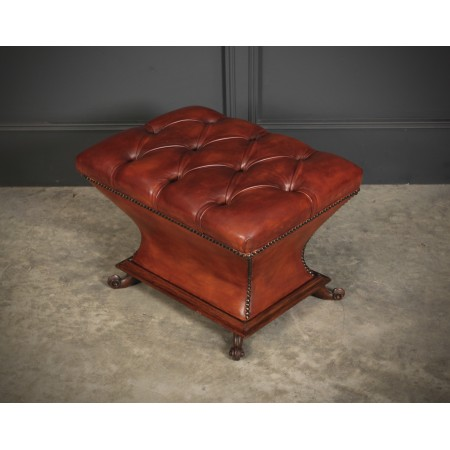 Victorian Rosewood & Leather Shaped Ottoman
