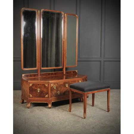 Art Deco Walnut Dressing Table & Stool