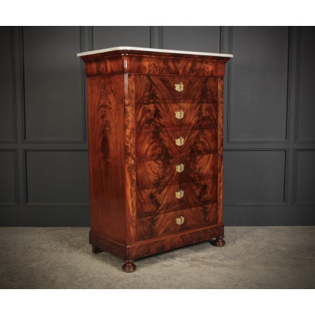 Tall Mahogany Biedemier Chest of Drawers