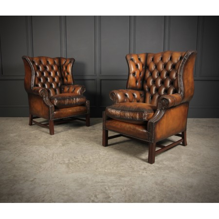 Pair of Chesterfield Leather Wing Chairs