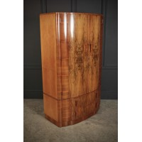 Art Deco Bow Front Walnut Wardrobe