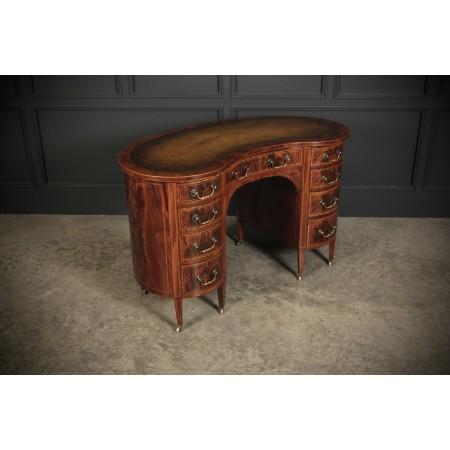 Stunning Inlaid Mahogany Kidney Shaped Desk