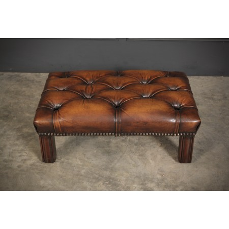 Hand Dyed Buttoned Leather Footstool