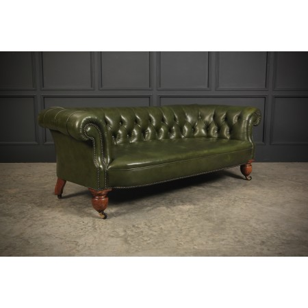 Genuine Victorian Bottle Green Leather Chesterfield Sofa