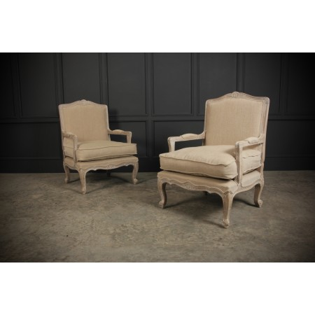 Pair of French Style Fauteuil Armchairs