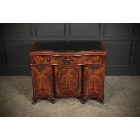 Flame Mahogany Serpentine Shaped Desk