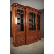 Burr Walnut Breakfront Glazed Bookcase