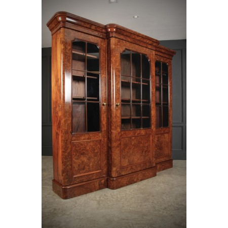 Burr Walnut Breakfront Glazed Bookcase