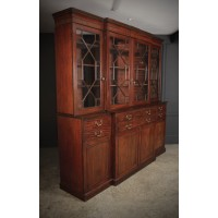 Large Georgian Mahogany Breakfront Bookcase
